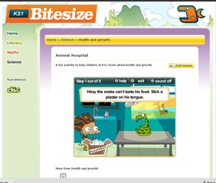 Animal Hospital http://www.bbc.co.uk/bitesize/ks1/science/health_and_growth/play/